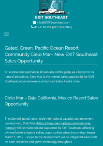 EXIT Southeast Announces Cielo Mar Sales Opportunity
